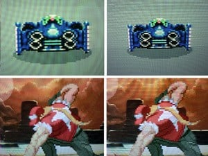 On the left is the 'untouched' RGB image running on an LCD TV. On the right is the image running through the SLG3000 (click to enlarge)