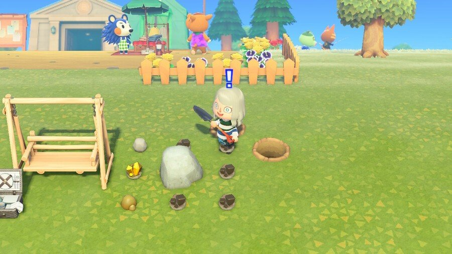 Mining iron ore, gold nuggets, rocks and clay from hitting rocks in Animal Crossing: New Horizons