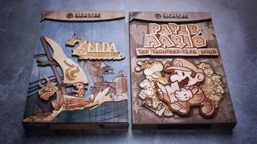 Pigminted Nintendo Wood Carvings