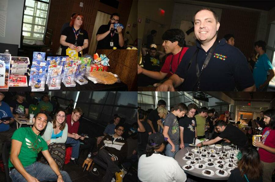 Top left: Prize table, top right: David of SPSD, bottom left: Nintendo rep Ray and his friends, bottom right: Cake cut out for everyone