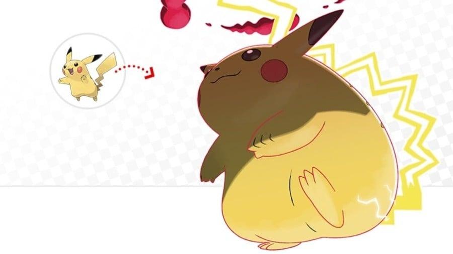 Pictured: Pikachu and Gigantamax Pikachu