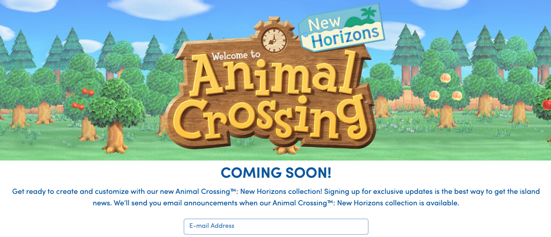 Here's how the official Animal Crossing Build-A-Bear page looks at the time of writing.