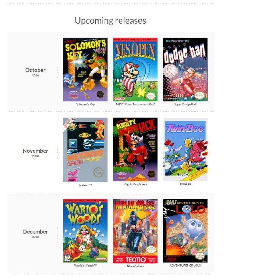NES Upcoming Releases