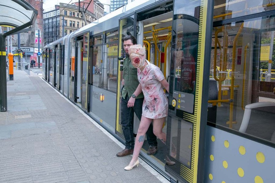 Commuters were left in shock at Shudehill when greeted by the gory Nurse from Silent Hill getting off the tram.