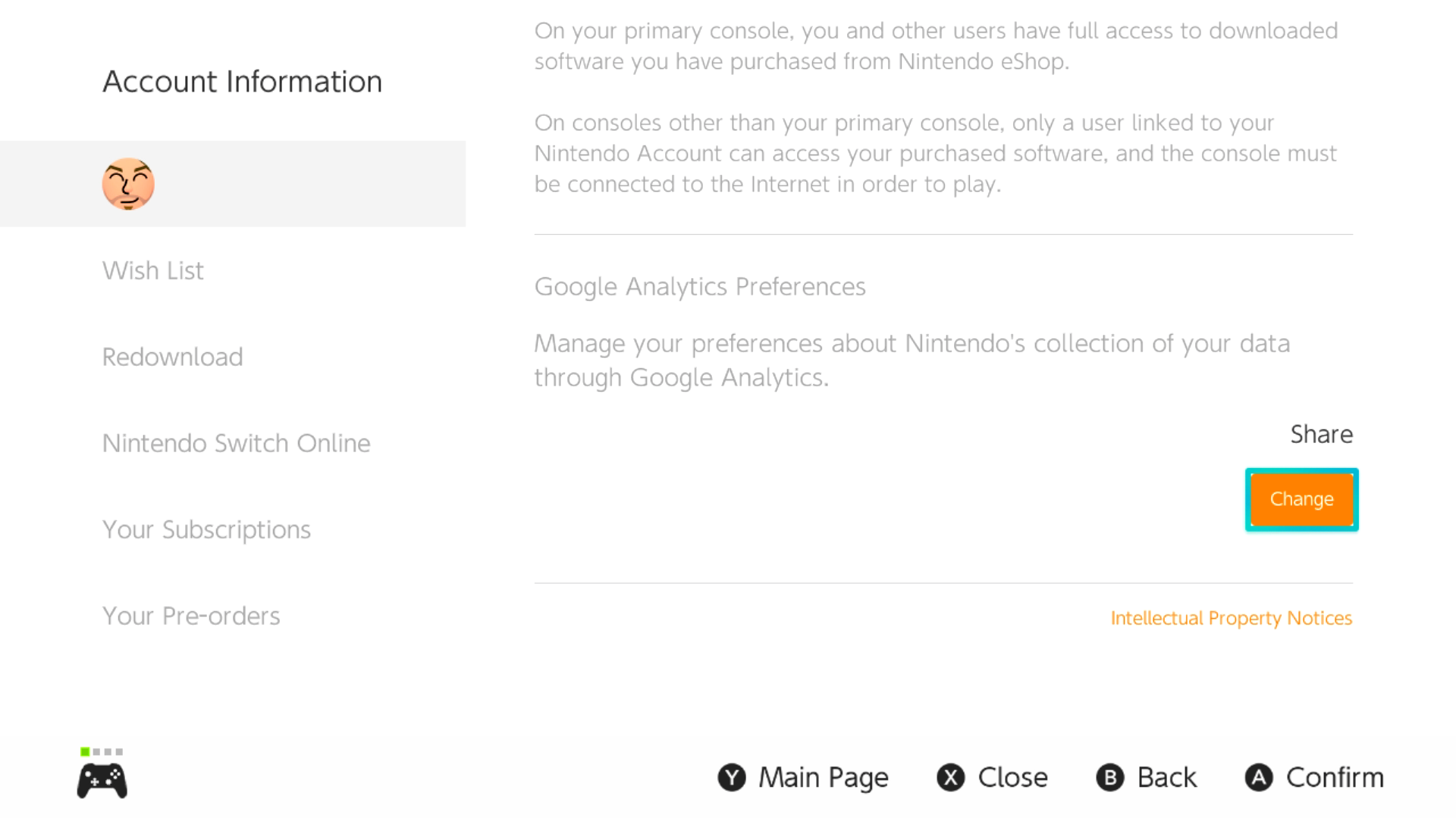 Switch eShop Google Analytics Preferences
