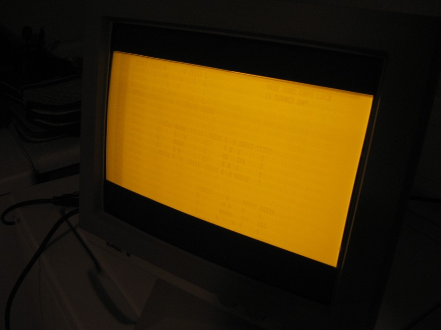 An example of screen burning on a yellow CRT screen