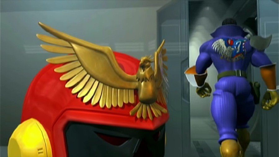 A cutscene from F-Zero GX's story mode