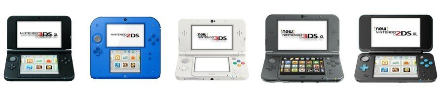 Nintendo 3DS XL, Nintendo 2DS, New Nintendo 3DS (XL) and New Nintendo 2DS XL