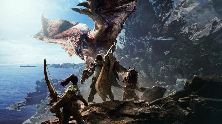 A screen from the series' most recent major game release, Monster Hunter World