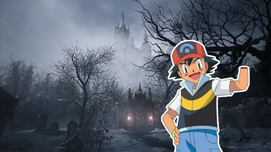Ash Ketchum approaches Dimitrescu Castle in Resident Evil 8 (with his hand chopped off)