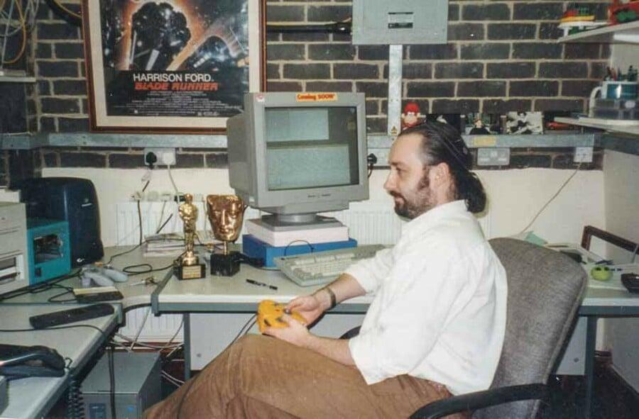 David tests his work. The BAFTA is real, the Oscar isn't.