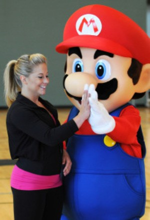 Shawn Johnson high-fives Mario for reasons best left unexplained