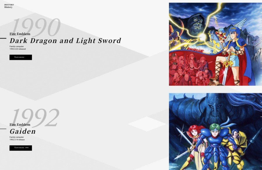 A screenshot of the Fire Emblem site's history timeline