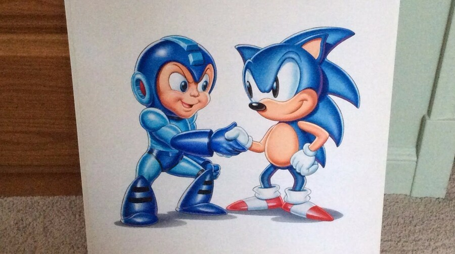 This promotional image for Game Players Magazine unites two of Greg Winters' cover subjects - he also did some covers for Sega's Sonic the Hedgehog