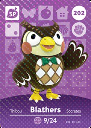 Blathers amiibo card