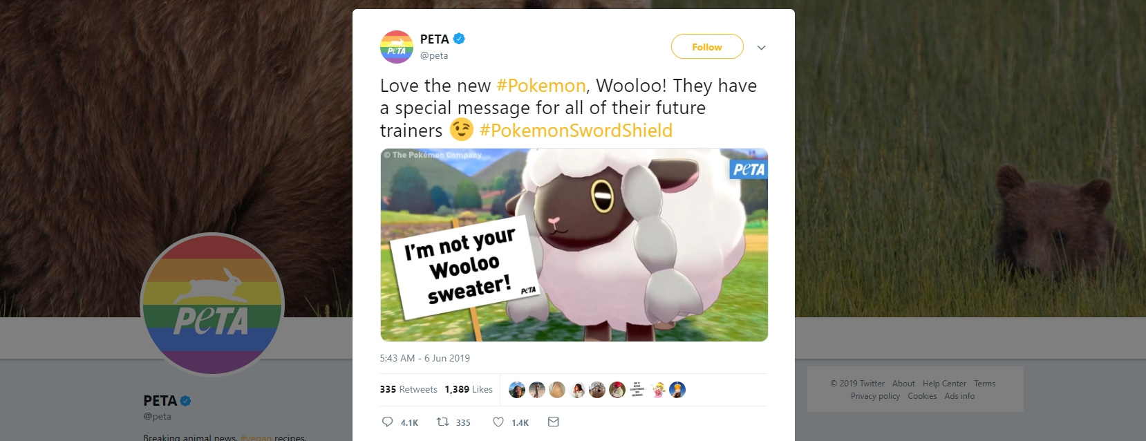 Random Peta Makes Woolly Statement About Sheep Pokemon Wooloo