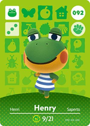 Henry amiibo card