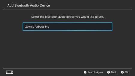 3. Nintendo Switch Επιλέξτε μια συσκευή ήχου Bluetooth