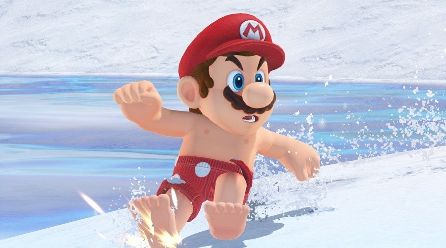 Shirtless Mario can't believe it!