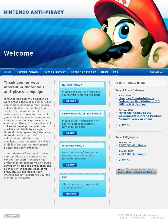 Random: Nintendo Shuts Down Its Anti-Piracy Website