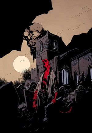 Hellboy in Churchyard - Colour by Dave Stewart (Image via http://www.artofmikemignola.com/Art)