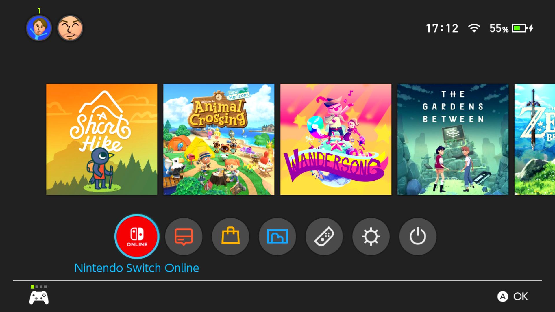 Menú principal de Nintendo Switch Applet NSO