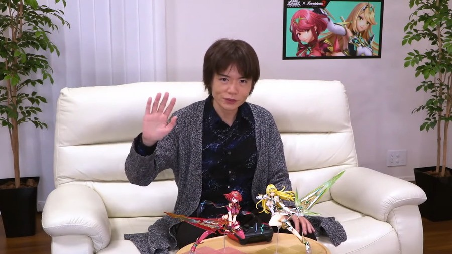Sakurai showcasing the new fighters Pyra/Mythra from home