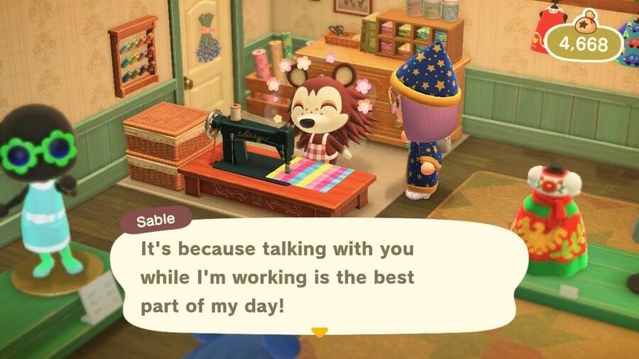 Befriending Sable in Animal Crossing: New Horizons