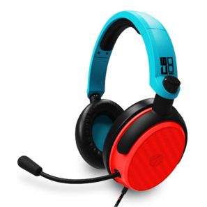 Invisible red and blue headphones