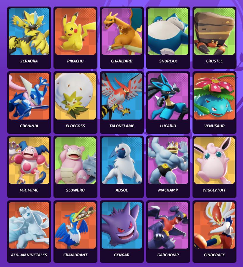Pokemon Unite Roster