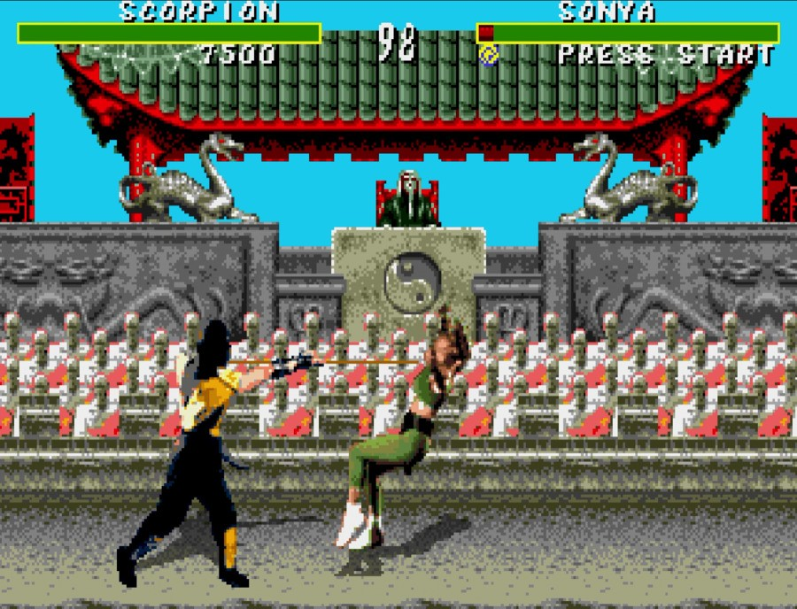 The Sega version retained the blood and violent finishing moves, but locked them behind a special code