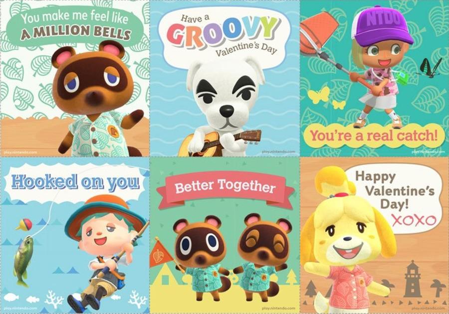 Animal Crossing Valentines Cards
