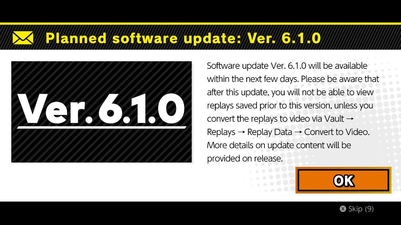 Super Smash Bros. Ultimate has been updated to version 6.1.0