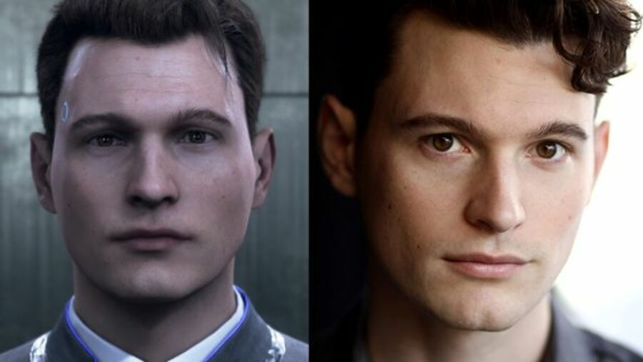 Bryan as Connor in Detroit: Become Human, and Bryan himself