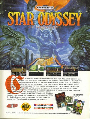 As this print advert from the early '90s proves, Star Odyssey was very close to release in the US back then