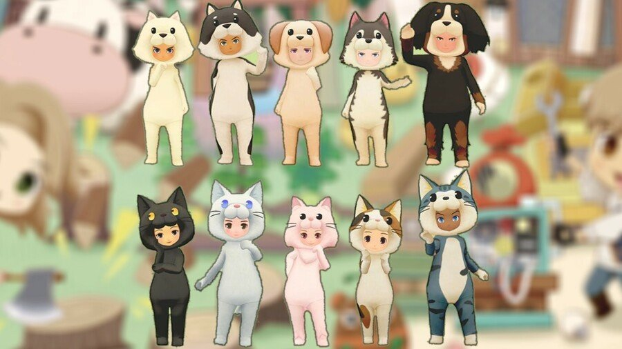 Dog And Cat Outfits in Story of Seasons: Pioneers of Olive Town