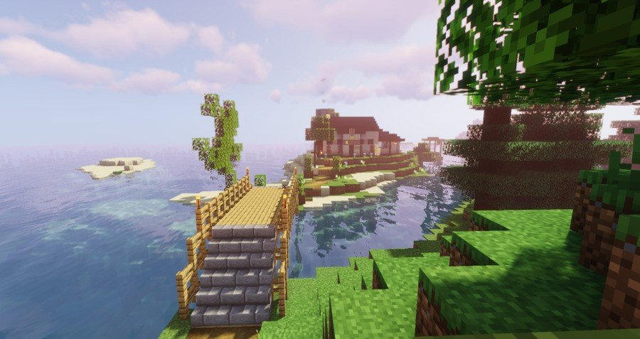 """Another player on the server has built what we call """"The Cottage""""; it has an axolotl enclosure"""