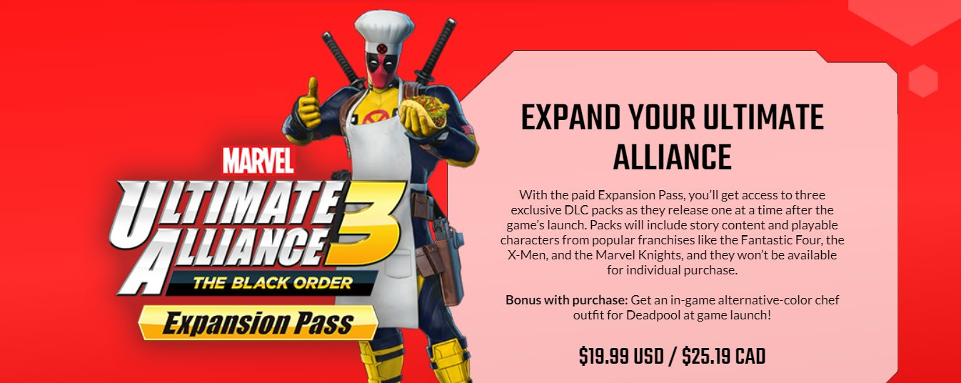 The DLC Packs For Marvel Ultimate Alliance 3 Won't Be Sold