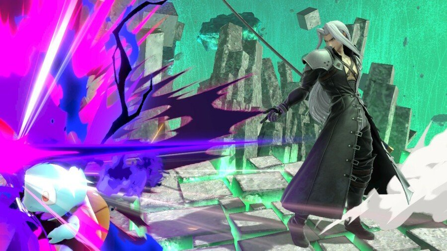 Sephiroth using his Shadow Flare attack on Squirtle