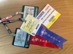 A selection of Nat's impressive collection of lanyards