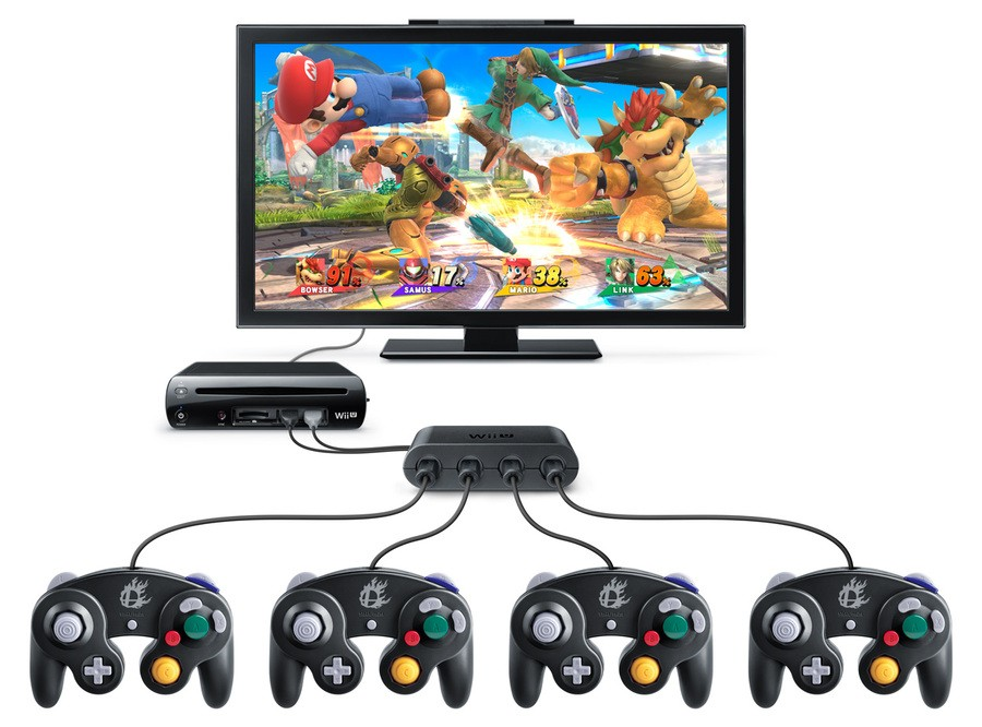 Wii U Game Cube Controller Adapter Super Smash Bros