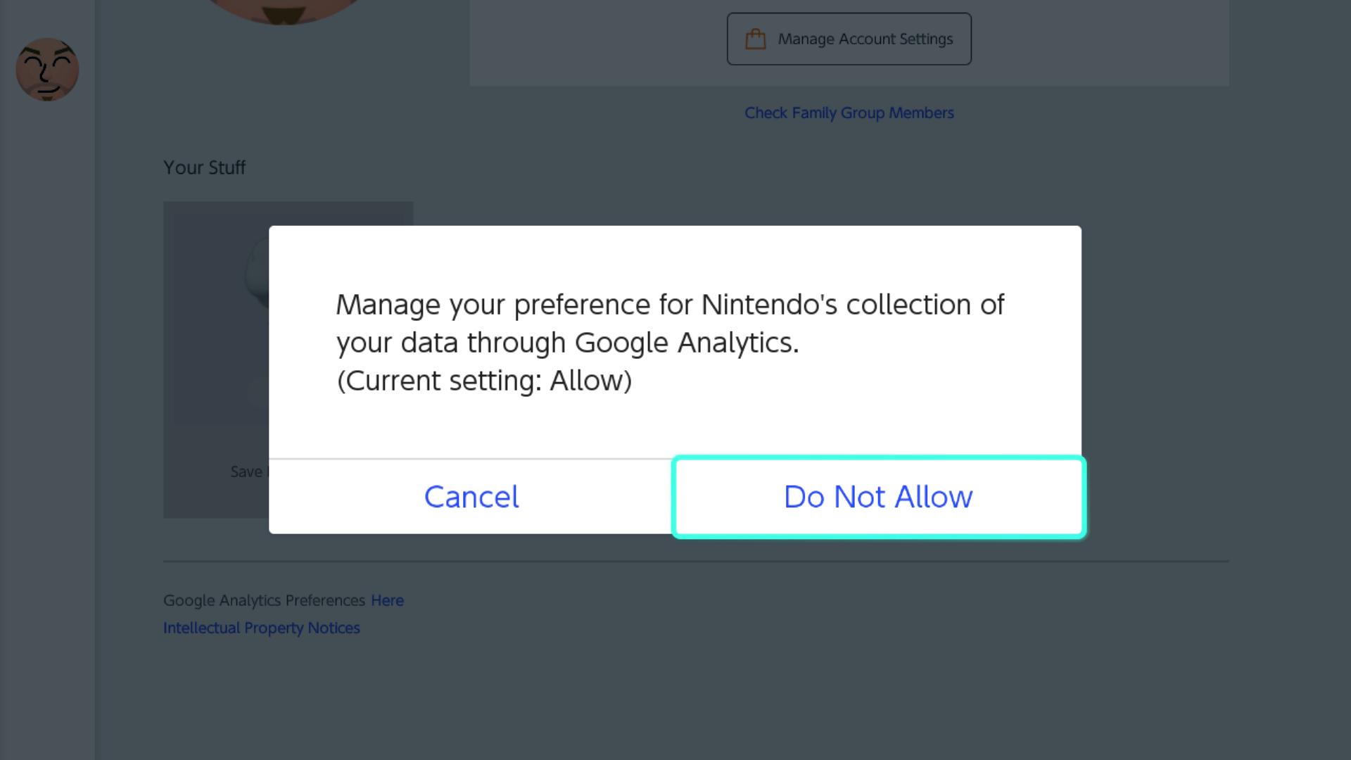 Cambio de las preferencias de Google Analytics para el subprograma en línea de Nintendo Switch