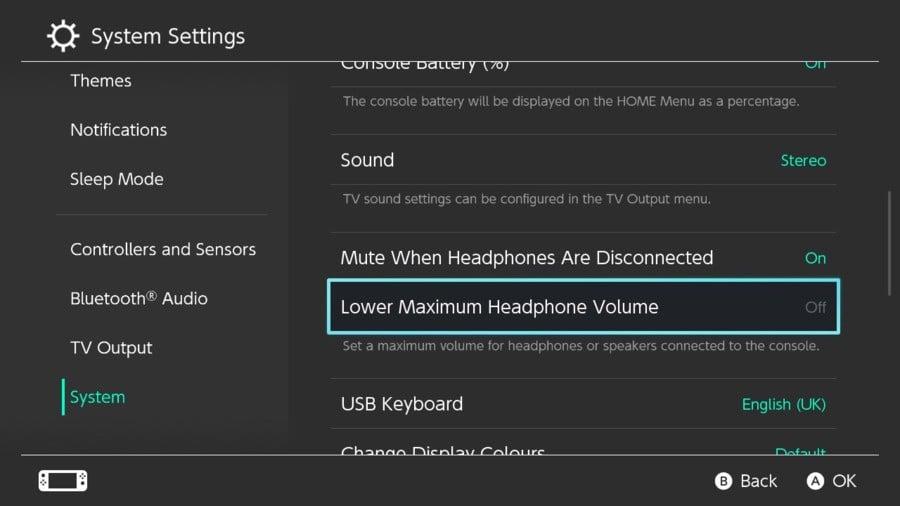 5. Nintendo Switch Μειώστε τη μέγιστη ένταση των ακουστικών
