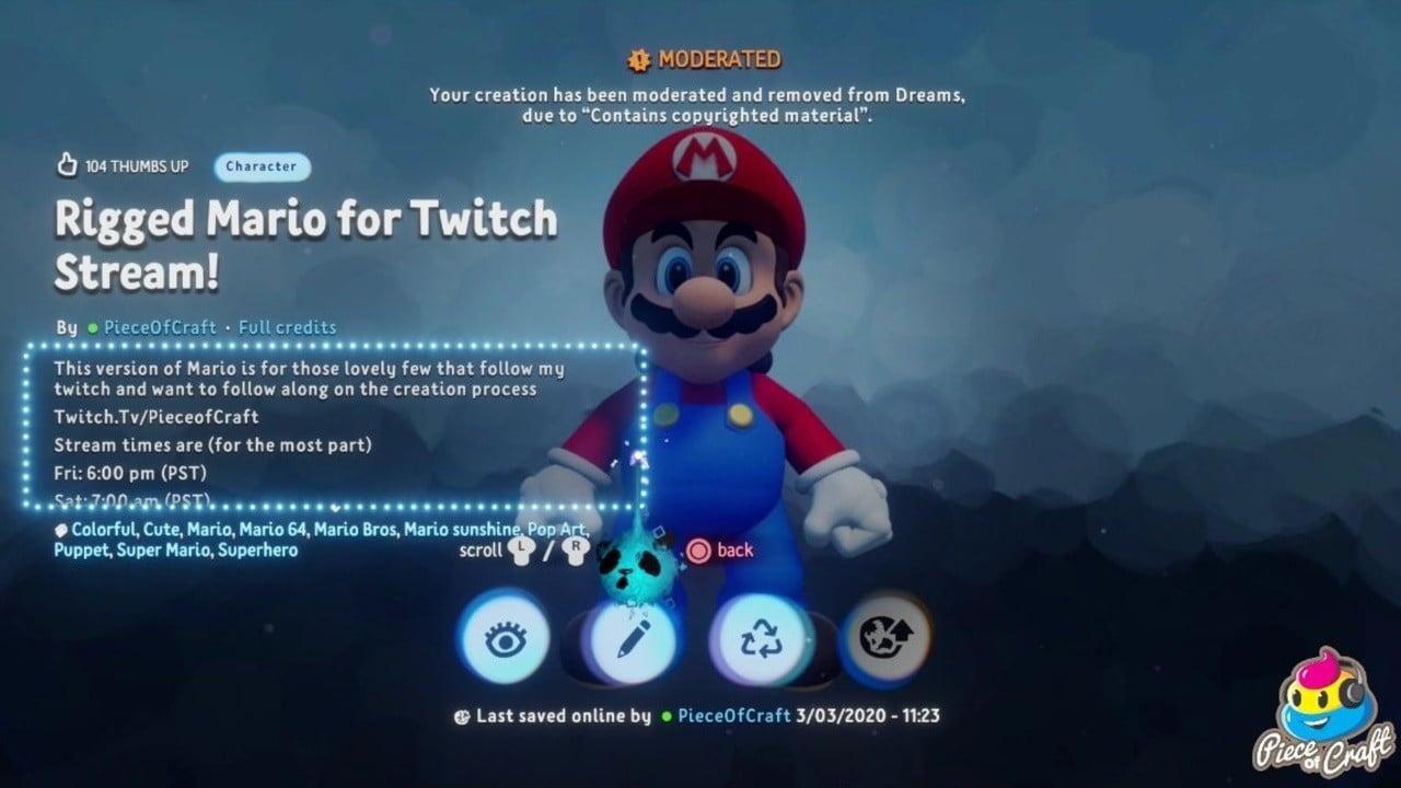 """El proyecto de Mario en PS4's Dreams llega a un alto por contener """"material con derechos de autor"""" 31"""