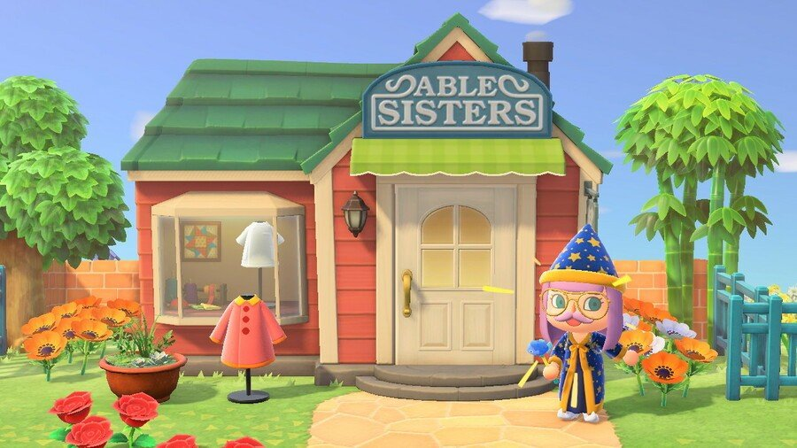 Storefront of the Able Sisters' tailor shop in Animal Crossing: New Horizons