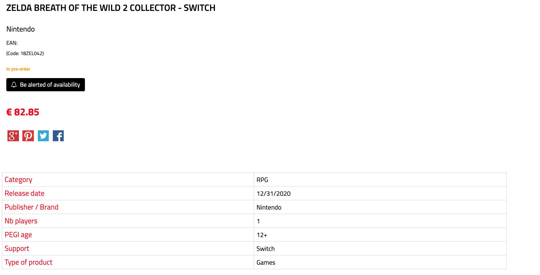Edição de colecionador de Zelda: Breath Of The Wild 2  é listado em site de varejista