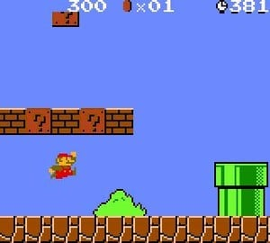 Mario doing what he does best - jumping