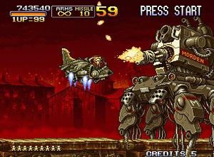 Shooting down big bosses in Metal Slug 2