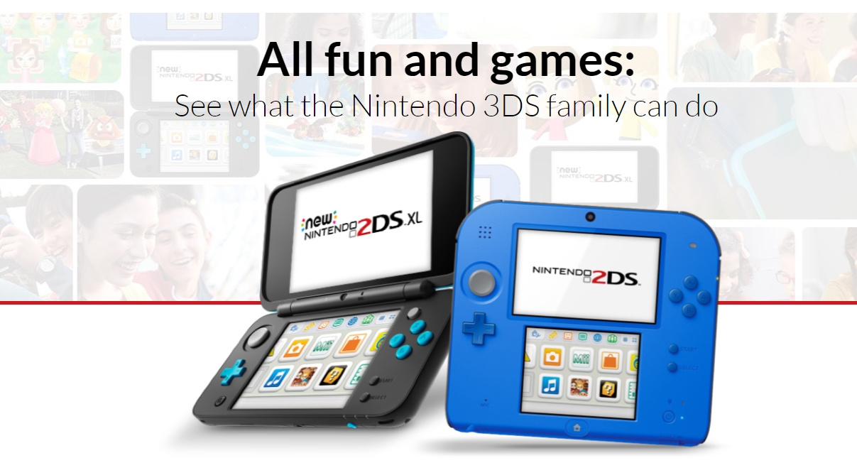 Nintendo's North American Website Now Only Advertises The 2DS Line