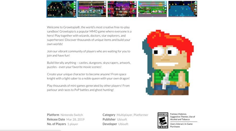 Here's what the Growtopia site listing used to look like